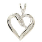 Estate Ladies 10K White Gold Natural Diamond Heart Pendant