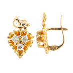 Vintage Estate 10K Yellow Gold Diamond 0.42CTW Grape Vine French Back Earrings