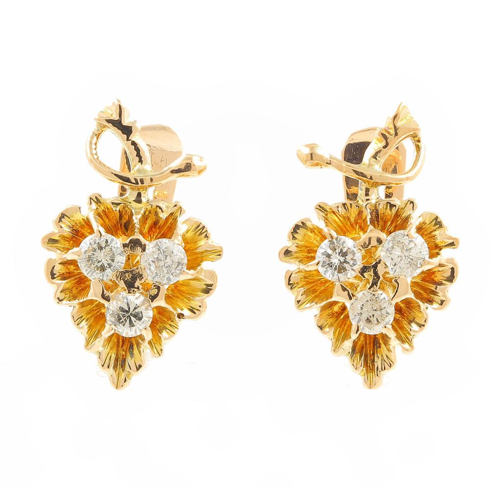 Earrings→ Vintage Estate 10k Yellow Gold Diamond Grape Vine French Back  Earrings  042ctw