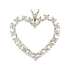Vintage Estate 14K White Gold Natural Diamond Open Heart Pendant - 1.00CTW