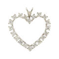 Classic 14K White Gold Natural Diamond 1.00CTW Heart Pendant