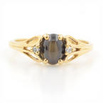 Estate 10K Yellow Gold Smoky Topaz Cabochon Ladies Diamond Ring - Size 2.75