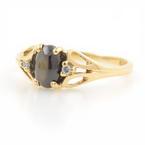 Estate 10K Yellow Gold Smoky Topaz Cabochon Diamond Ring Size 2.75