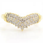 "Unique Vintage Classic Estate Ladies 10K Yellow Gold Diamond ""V"" Ring - 0.65CTW"