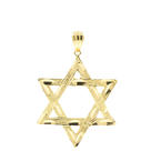 Vintage Classic Estate 14K Gold Diamond Cut Star of David Pendant - 50MM