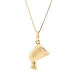 Estate 10K Yellow Gold Nefertiti 3D Pendant 18 Inch Box Chain Necklace
