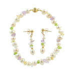 Estate 14K Yellow Gold Baroque Pearl Rough Cut Gemstone Earring Bracelet Set