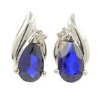 Classic Estate 10K White Gold Diamond Sapphire BirthStone Push Back Earrings