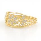 Vintage Classic Estate 14K Yellow Gold Diamond Ornate Ring Band - 0.24CTW