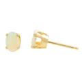 Classic 14K Yellow Gold Opal Push Back Stud Earrings