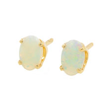 Classic 14K Yellow Gold Opal Push Back Stud Earrings