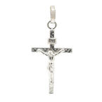 Fine 14K White Gold Crucified Jesus Cross Pendant - 40MM