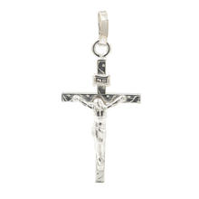 Fine 14K White Gold Crucified Jesus Cross 40MM Pendant