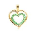 Modern Estate 10K Yellow Gold Diamond Emerald 0.50CT Open Heart 30MM Pendant