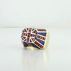 Bold 10K Yellow Gold Britain Flag Ruby Enamel Mens Ring