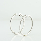 Ravishing 14K White Gold Round Diamond Classic Hoop Earrings