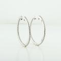 Ravishing 14K White Gold Round Diamond Classic Hoop Earrings
