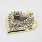 Vintage Estate Ladies 10K Yellow White Gold Diamond Heart Pendant - 0.72CTW
