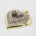 Vintage Ladies 10K Yellow White Gold Diamond 0.72CTW Heart Pendant Jewelry
