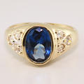 Exquisite Estate Ladies 14K Yellow Gold Blue Topaz Cocktail Statement Ring