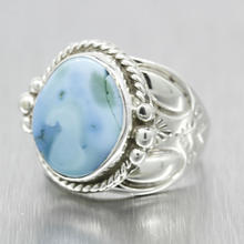 Estate Ladies Silver 925 Oval Turquoise Size 7.75 Right Hand Cocktail Ring