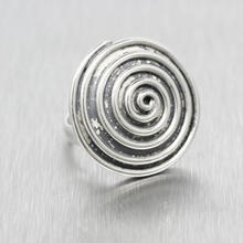 Classic Estate Ladies 925 Silver Swirl Disc Ring Size 6.5