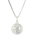 "Estate 925 Silver 10 Cent Cuban 1949 Coin 30MM Pendant 19"" Box Chain Necklace"