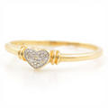 Chic Ladies 10k Heart Shaped Diamond Ring Jewelry