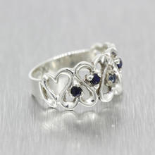 Estate Ladies 925 Silver  Open Heart Blue Spinel 0.15CTW Ring Band