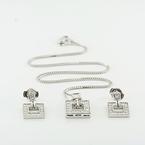 Modern 14K Necklace Earring Jewelry Set 0.60CTW Diamond Pave Set Tenchen Locks