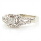 Fine Ladies 10K White Gold Princess Cut Diamond .50CTW Halo Engagement Ring