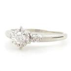 Fine Estate Ladies 14K White Gold Side Stones Diamond 0.20CTW Engagement Ring