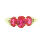 Vintage Ladies 10K Yellow Gold Oval Red Spinel Diamond Right Hand Anniversary Ring