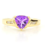 Vintage Estate 10K Yellow Gold Trilliant Cutt Amethyst Diamond Birthstone Ring