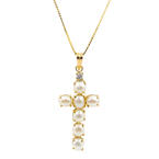 "Classic 14K Yellow Gold Pearl Diamond Cross Pendant 17""  18k Box Chain Necklace"