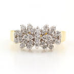 Exquisite Classic Estate Ladies 10K Yellow Gold Diamond Cluster Ring 0.60CTW