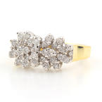 Classic Estate 10K Yellow Gold Diamond 0.60CTW Cluster Right Hand Ring