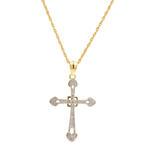 "Classic 10K Yellow Gold Diamond Cross Pendant 21""14K Chain Necklace"