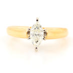 Classic 14K Yellow Gold Marquise Cut Diamond 0.50CTW Engagement Ring