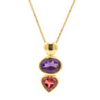 Fine Ladies 18K Yellow Gold Amethyst Orange Tourmaline Pendant Chain Necklace