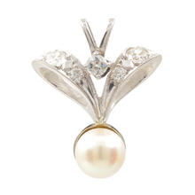 Vintage Estate 10K White Gold European Diamond 0.35CTW Pearl Drop Pendant