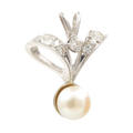 Classic Estate 10K White Gold European Diamond Pearl Drop Pendant - 0.35CTW