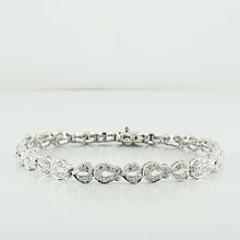 14K Fine White Gold Dramatic deco-inspired Diamond 1.30CTW Bracelet Double Lock