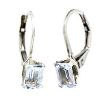 Estate 925 Silver Emerald Cut Light Blue Topaz French Back Earrings