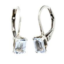 Estate 925 Silver Emerald Cut Light Blue Topaz French Back Earrings