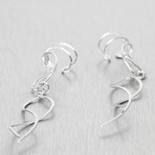 Ladies Vintage Classic Estate 925 Silver Cuff Dangle Twisted Earrings