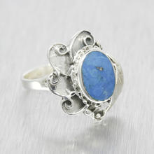 Estate Ladies Silver 925 Blue Enamel Size 8.25 Right Hand Cocktail Ring