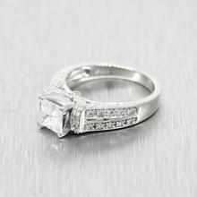 Estate Ladies 925 Silver Princess Cut Engagement Ring Size 7