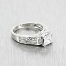 Estate Ladies 925 Silver Princess Cut Engagement Ring Size 7