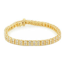 "Estate Ladies 14K Yellow Gold Brilliant Diamond 4.30CTW Tennis 7"" Bracelet"